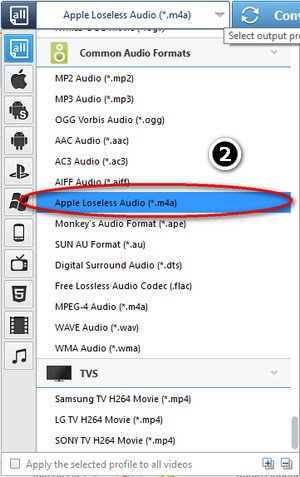 Choose FLAC to Apple Lossless Format
