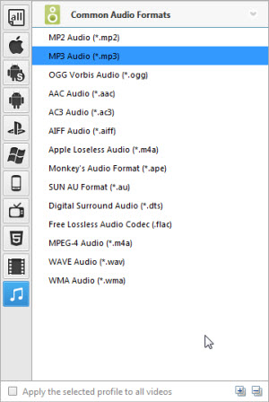 Add audio, video and online video files to Any Audio Converter, convert M4A to MP3, APE to MP3, AVI to MP3