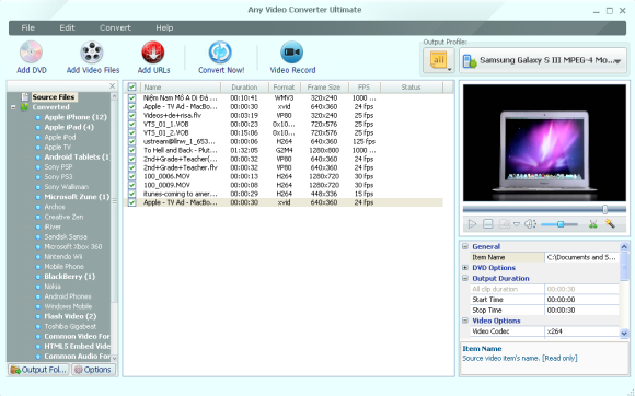 interface of Samsung Galaxy S3 video converter