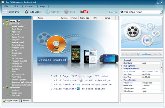 Any DVD Converter Interface