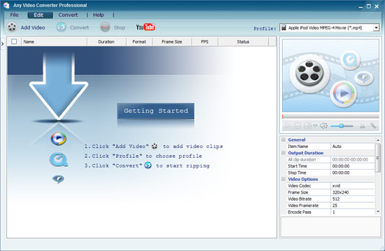 Any Video Converter Interface