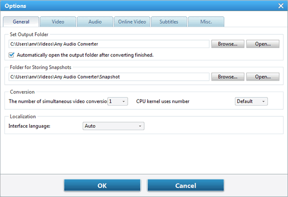 general option set output folder for Audio files