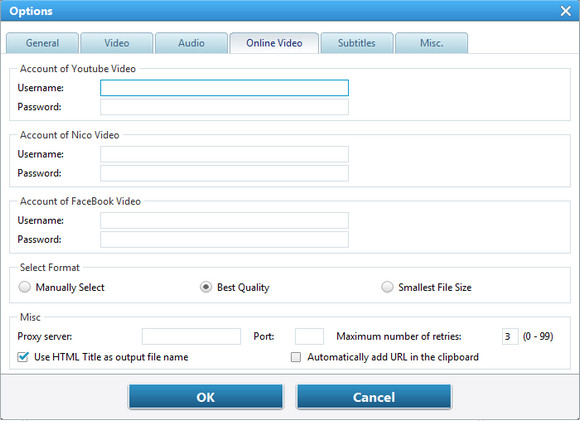set up online video option