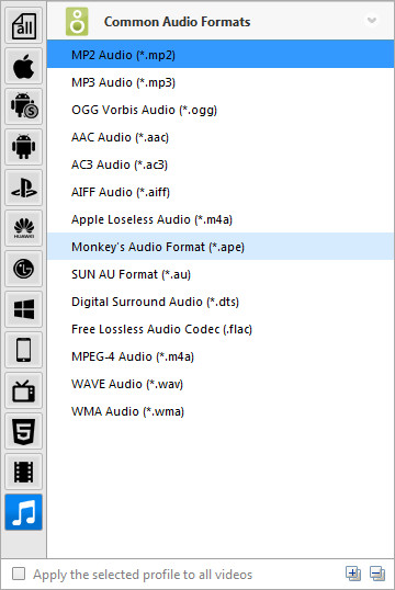 Preset Video Output for audio files