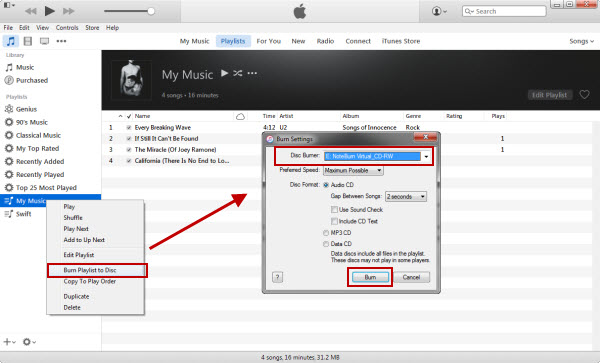 how to get itunes to burn with cd text