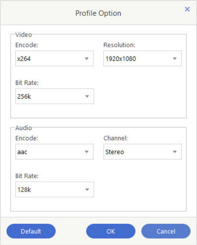 settings for converting m4v movies
